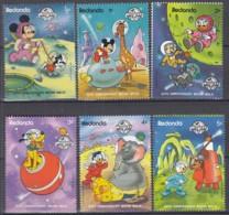 REDONDA 303-308, Postfrisch **, 20. Jahrestag Der Ersten Bemannten Mondlandung: Walt-Disney-Figuren 1989 - Disney