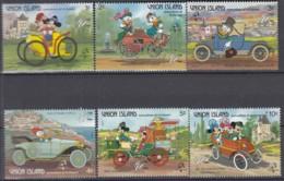 St, Vincent Grenadines Union Island, 246-51 Postfrisch **, PHILEXFRANCE Walt-Disney-Figuren, Historische Automobile 1989 - Disney