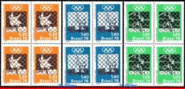 Ref. BR-1435-37-Q BRAZIL 1976 - SPORTS, OLYMPIC GAMES, MONTREAL,, BASKETBALL, MI# 1192-94, BLOCKS MNH,12V Sc# 1435-1437 - Judo