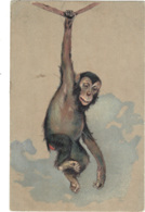 Animals - Monkey Hanging From A Rope, Artist Drawn, Embossed, Fantasy - Monkeys