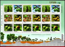 Ref. BR-V2016-18-3 BRAZIL 2016 FRUITS, FRUITS OF CERRADO,, PLANTS, SHEET MNH 18V - Fruits