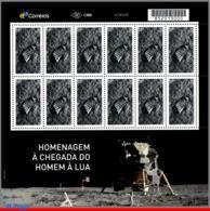 Ref. BR-V2019-13-F BRAZIL 2019 SPACE EXPLORATION, TRIBUTE TO LUNAR LANDING, MISSION, MOON, APOLLO 11, SHEET MNH 12V - Blocs-feuillets