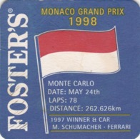 UNUSED BEERMAT - FOSTERS LAGER (AUSTRALIA) - MONACO GRAND PRIX 1998 - (Cat No 240) - (1998) - Portavasos
