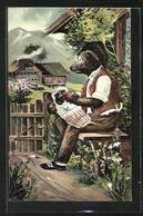 AK Vermenschlichte Tiere, Bär Sitzt Vor Dem Haus Und Füttert Das Bärenkind - Ours