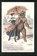 Künstler-AK Vermenschlichte Tiere, Bär Mit Schirm Im Arm Einer Frau - Ours