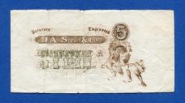 USA - D.A. Stein & Co. 5 Units - Very Old And Rare Specimen Sample Note 1800s AF - Specimen