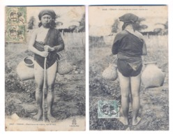 9422 Cochinchine Vietnam Tonkin She Picker Crabs Two Postcards Mail Stamps Indo - Chine - Vietnam