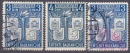 JUGOSLAVIA - 1940 - Lotto Composto Da 3 Valori Usati: Yvert 384/386. - Gebraucht