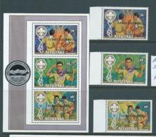 Aitutaki 1983 Boy Scout Jamboree Overprint Set 3 & Miniature Sheet MNH - Aitutaki
