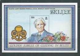 Belize 1987 Girl Guide Anniversary Miniature Sheet MNH , Light Corner Creases - Belize (1973-...)