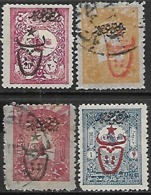 Turkey  1917  Sc#P157, P169 MH, P165, P168 Newspaper Stamps Used   2016 Scott Value $8 - 1858-1921 Empire Ottoman