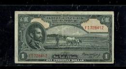 Ethiopia, 1 Dollar, Rozell, State Bank Of Ethiopia, 1945. P#12c. VF. - Etiopía