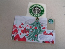 Starbucks New PIN Covered United Kingdom  Card  6129 Christmas Tree - Gift Cards