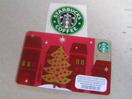 Starbucks New PIN Covered United Kingdom  Card  6080 Christmas Tree - Gift Cards