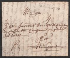 "L. Datée 14 Juillet 1732 De DUNKERQUE Pour NIEUPOORT - Griffe ""DVNKERQUE"" - Port ""4"" - 1714-1794 (Austrian Netherlands)"