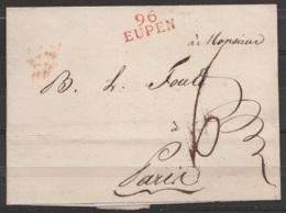 """LSC (page Texte Découpée) Pour PARIS - Griffe """"96/ EUPEN"""" - Port """"6"""" - 1794-1814 (French Period)"""