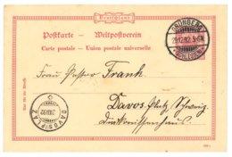 Ganzsache Grünberg, Schlesien 1892 Nach Davos-Platz, Schweiz - Allemagne