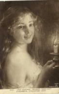 LEON  COMPERE  BONSOIR  GOOD NIGHT (Portait Jeune Fille Epaules Nues Bougie) RV CachetSouscrivez à L' Emprunt Narional - Peintures & Tableaux