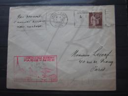 VEND BEAU TIMBRE DE FRANCE N° 284 S/LETTRE , 1° VOL PARIS - NICE !!! - Air Post