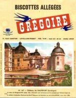 BUVARD  BISCOTTES GREGOIRE  CHATEAU DE HAUTEFORT DORDOGNE  N° 147 - Food