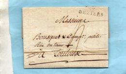 """Linéaire """"33 BEZIERS"""",L.A.C. Du 13/12/1807.pour TOULOUSE. - Poststempel (Briefe)"""