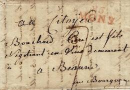 1800- Lettre De 86 / MONS (le Jemappes ) 30 Mm Rouge Taxe 7 D. Pour Beaune - 1794-1814 (French Period)
