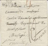 1809- Lettre De 96 / LIEGE (l'Ourthe ) 25 Mm Noir Taxe 10 D. Pour Rumilly ( Départ. Du Mont Blanc ) - 1794-1814 (French Period)