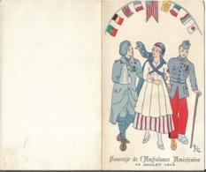 Menu Souvenir De L' Ambulance Américaine 14 Juillet 1916 Au Lyçée Pasteur à NEUILLY SUR SEINE - Menus