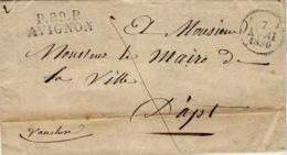 1830- Lettre De P.89 P. / AVIGNON ( Vaucluse ) 35 X 12 Mm Noir  Pour Apt - Poststempel (Briefe)