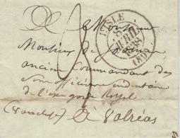 1838- Lettre De L'ISLE  ( Vaucluse ) Cad T12 Taxe 3 D. Pour Valréas - Poststempel (Briefe)