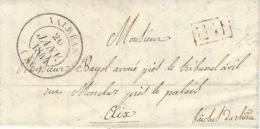 1844- Lettre De Valréas  ( Vaucluse ) Cad T14  + P.P.rouge Pour Aix - Poststempel (Briefe)