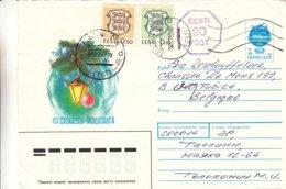 Estonie - Lettre De 1992 - Oblit Tallinn - Entier Postal Russe - Cachet Machine 90c - Estland