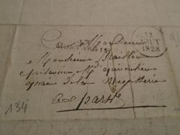 1828-LOIRET  -Lettre MANUSCRITE  +TAXEE +IND/5 +  Départ 43 MONTARGIS  Pour  PARIS -3 Photos - Poststempel (Briefe)