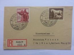 GERMANY 1944 Front Of Cover Registered Berlin To Kiel With `IHR OPFER VERPFLICHTET` Sonderstempels - Alemania