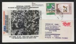 India 2006  Mahatma Gandhi  HEY RAM  Leprosy Day Label  Speed Post  Special Cover # 22210 D  D Inde  Indien - Mahatma Gandhi