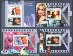 S653 2007 GUINEE GUINEA FRENCH CINEMA STARS EMANUELLE BEART BRIGITTE BARDOT SOPHIE MARCEAU 3BL+1KB MNH - Actors