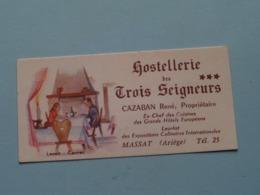 Hostellerie Des TROIS SEIGNEURS *** Cazaban René (Prop.) MASSAT (Ariège) Tél 25 ( Lenoir/Cannes > Voir Photo ) ! - Tarjetas De Visita