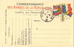 GUERRE 14-18  CARTE EN FRANCHISE  DRAPEAUX - TàD POSTE AUX ARMEES  B  Du 17-8-15 - Poststempel (Briefe)