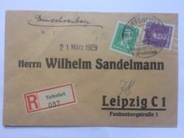 GERMANY 1929 Cover Registered Tiefenfurt To Leipzig With Tiefenfurt Sonderstempel Handstamp - Deutschland