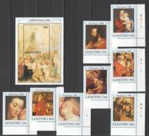 Y533 LESOTHO ART PAINTINGS CHRISTMAS 1990 RUBENS #865-72 MICHEL 23 EU SET+BL MNH - Sonstige