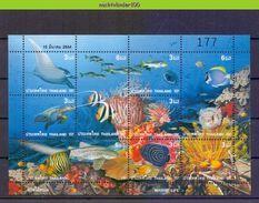 Neg012 FAUNA VISSEN SCHILDPAD HAAI TURTLE RAY CORAL SHARK FISH FISCHE POISSONS MARINE LIFE THAILAND 2001 PF/MNH - Fische