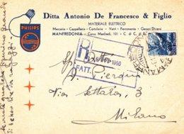MANFREDONIA - FOGGIA - DITTA ANTONIO DE FRANCESCO & FIGLIO - MATERIALE ELETTRICO - PHILIPS - 1950 - Manfredonia