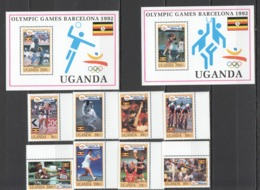 X261 1992 UGANDA SPORTS OLYMPIC GAMES BARCELONA #1131-8 !!! MICHEL 37 EURO !!! MNH - Summer 1992: Barcelona