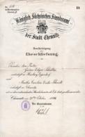 Grand Certificat De Mariage Königlich Sächsisches Standesamt Der Stadt Chemnitz - Bescheinigung Der Eheschliefsung 1894 - Collections
