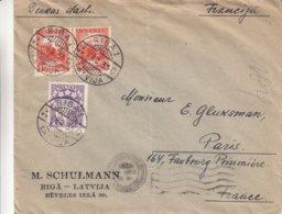 Lettonie - Lettre De 1935 ° - Oblit Riga - Exp Vers Paris - Ationale - Lettonie