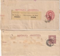 ARGENTINE    ENTIER POSTAL/GANZSACHE/POSTAL STATIONERY  LOT DE 2 BANDES JOURNAL - Interi Postali