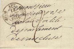 1834- Lettre De APT ( Vaucluse )  Cad T11 ( écrite De Monjustin ) - Poststempel (Briefe)