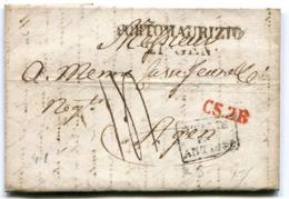 ITALIE De PORT MAURICE Pour AGEN LAC Du 20.01/1827 Taxe De 14 Entrée Par ANTIBES Noire+ Marque D'échange CS2R Rouge - Poststempel (Briefe)