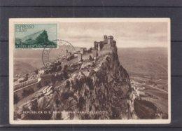 Saint Marin - Carte Postale De 1947 - Oblit Répiblique San Marino - Avec Timbre Exprès - Carte Maximum  ? - Saint-Marin