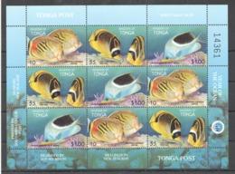 Y573 1998 KINGDOM OF TONGA FISH & MARINE LIFE YEAR OF THE OCEAN #1536-8 !!! MICHEL 14 EURO !!! 1SH MNH - Meereswelt